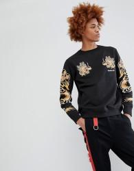 Maharishi Dragon Arm Embroidered Sweatshirt - Black