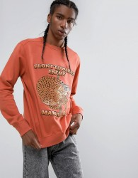 Maharishi Embroidered Crouching Tiger Crew Neck Sweatshirt - Orange