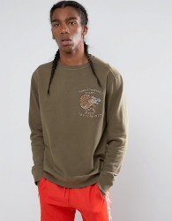 Maharishi Embroidered Crouching Timer Crew Neck Sweatshirt - Green