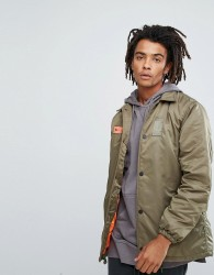 Maharishi Oversized Coach Jacket In Khaki With Back Print - Green