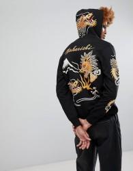 Maharishi Signature Embroidered Dragon Zip Through Hoodie - Black