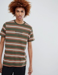 Maharishi Striped T-Shirt With Chest Logo In Green - Green