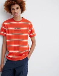 Maharishi Striped T-Shirt With Chest Logo In Orange - Orange