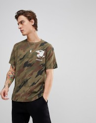 Maharishi T-Shirt In Camo With Tiger - Green