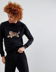 Maharishi Tiger Embroidered Crew Neck Sweatshirt - Black
