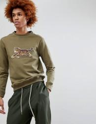 Maharishi Tiger Embroidered Crew Neck Sweatshirt - Green