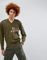 Maharishi Tiger Embroidered Military Jumper - Green