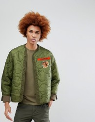 Maharishi Tiger Patch Quilted Bomber Jacket - Green