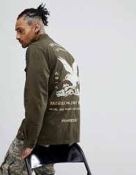 Maharishi Tour Shirt With Eagle Embroidery In Olive - Green
