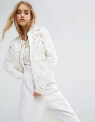Maharishi Upcycled Arctic Rib Jacket With Blossom Embroidery - White