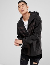 Maharishi Windbreaker Jacket In Black With Reflective Panels - Black