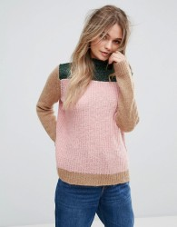 Maison Scotch Colour Blocked High Neck Knit In A Mix Of Yarns - Multi