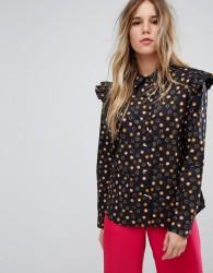 Maison Scotch Cotton Button Up Shirt With Ruffle Detail - Multi