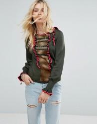 Maison Scotch Crew Neck Knit With Ruffle Details - Multi