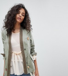 Maison Scotch Exclusive Military Jacket With Kimono Detailing - Green
