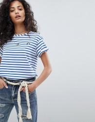 Maison Scotch Felix Ams Blauw Embroidered T-Shirt - Multi