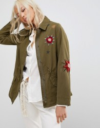 Maison Scotch Floral Embroidered Utility Jacket - Green