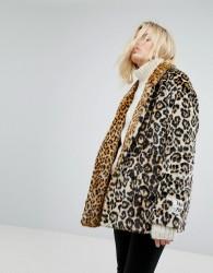 Maison Scotch Leopard Faux Fur Coat - Multi