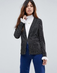 Maison Scotch Printed Drapey Blazer - Navy