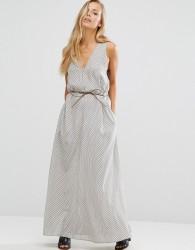 Maison Scotch Tie Waist Maxi Dress - Grey