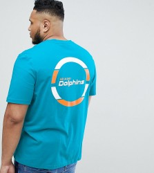 Majestic Longline Miami Dolphins T-Shirt With Back Print In Teal - Green
