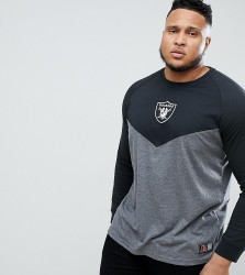 Majestic Longline Raiders Chevron Long Sleeve T-Shirt In Grey - Grey