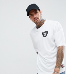Majestic Oversized Raiders Mesh T-Shirt In White - White