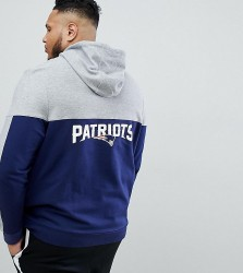 Majestic Patriots Chevron Panel Hoodie With Back Print In Navy - Navy