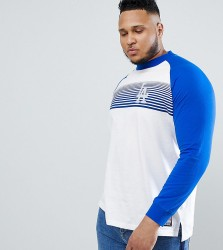 Majestic Raglan Long Sleeve T-Shirt With L.A Dodgers Panel Print In White - White