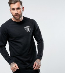 Majestic Raiders Longline Raglan Sweatshirt Exclusive to ASOS - Black