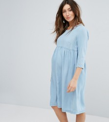 Mamalicious Chambray Skater Dress - Blue