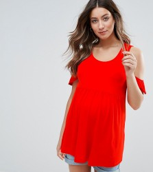 Mamalicious Cold Shoulder Jersey Top - Red