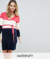 Mamalicious Colour Block Knitted Dress - Multi