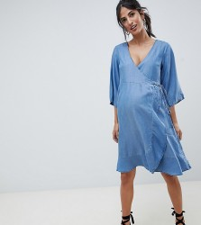Mamalicious Denim Wrap Dress - Blue