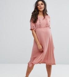 Mamalicious Frill Detail Skater Dress - Pink