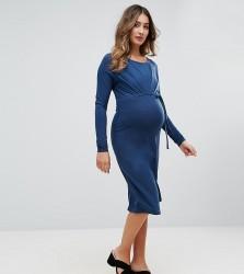 Mamalicious Gathered Front Jersey Dress - Blue