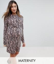 Mamalicious Graphic Print High Neck Shift Dress - Multi