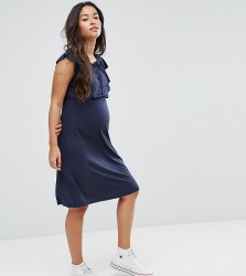 Mamalicious Jersey Dress With Frill Detail - Navy