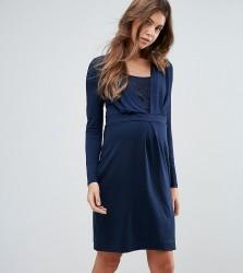 Mamalicious Knitted Nursing Wrap Dress - Navy