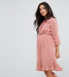 Mamalicious Lace Insert Dress With Ruffle Hem - Multi
