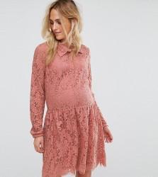 Mamalicious Lace Skater Dress - Pink