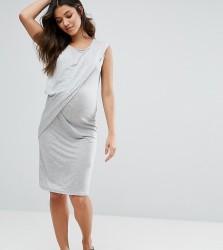 Mamalicious Maternity Dress With Drape Detail - Grey