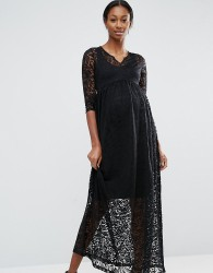 Mamalicious Maternity Lace Maxi Dress - Black