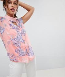 Mamalicious Nursing Bloom Print Top With Choker - Multi