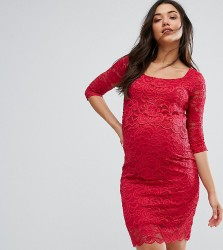 Mamalicious Nursing Lace Bodycon Dress - Red