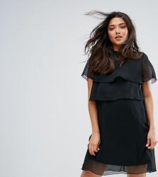Mamalicious Nursing Sheer Overlay Shift Dress - Black