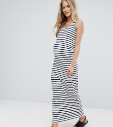 Mamalicious Organic Cotton Striped Bodycon Maxi Dress - Multi