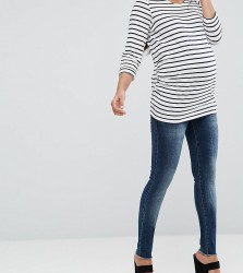 Mamalicious Over The Bump Slim Jeans - Blue