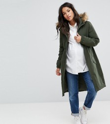 Mamalicious Parka Coat With Faux Fur Trim Hood - Green