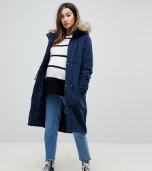Mamalicious Parka Coat With Faux Fur Trim Hood - Navy